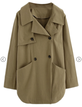 Lapel Double Breasted Loose Trench Coat