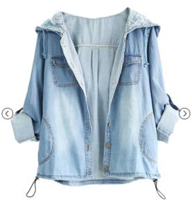 Rolle-up Hoodied Blue Denim Coat